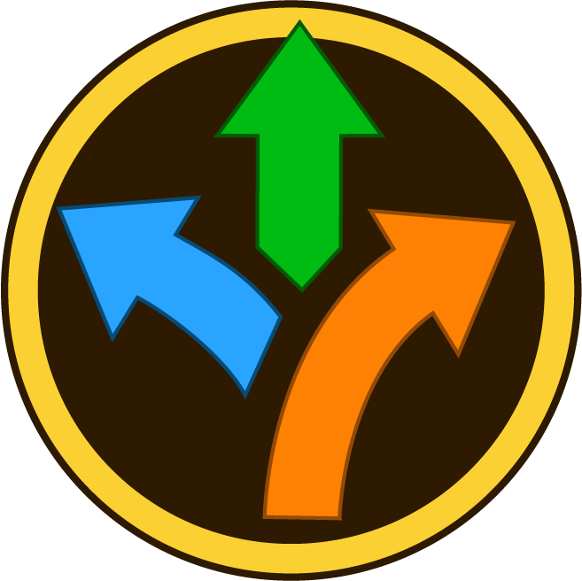 Blue, green and orange arrow pointing in different directions